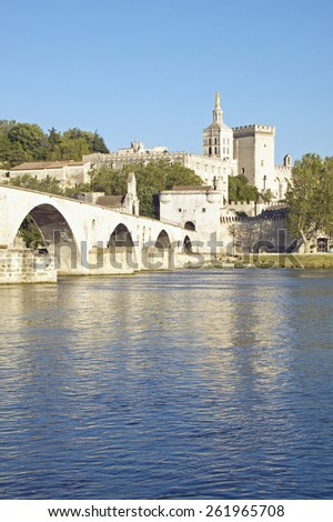 Le Pont St. Benezet and Palace of the Popes and Rhone River, Avignon, France - stock photo
