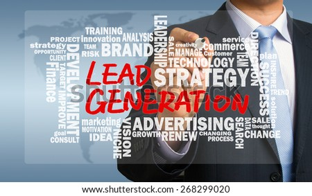 lead generation concept handwritten by businessman with related words cloud