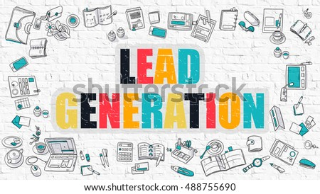 Lead Generation Concept. Lead Generation Drawn on White Brick Wall. Lead Generation in Multicolor. Modern Style Illustration. Doodle Design Style of Lead Generation. Line Style Illustration.