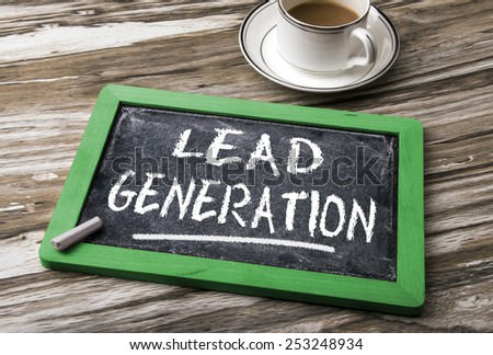 lead generation handwritten on blackboard - stock photo