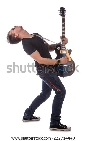 Lead guitarist. Isolated on the white background. - stock photo