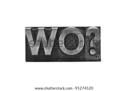 lead letter wo? on white background