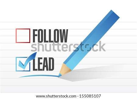 lead over follow. check mark selection. illustration design