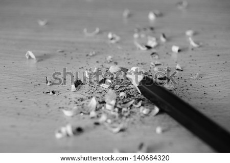 Lead pencil sharpened with knife