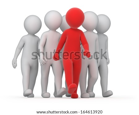leader and a crowd, image with a work path - stock photo