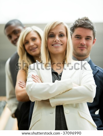 Leader and her team in the office