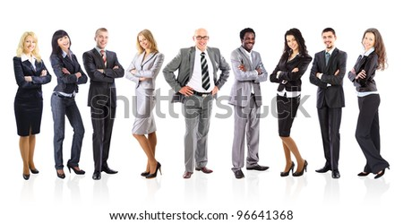 Leader and his business team formed of young businessmen standing over a white background - stock photo