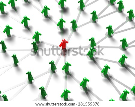 Leader and social network concepts, 3D red key man in the center of green crowd. - stock photo