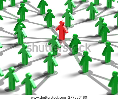 Leader and social networking concepts, 3D red man in the center of green crowd. - stock photo