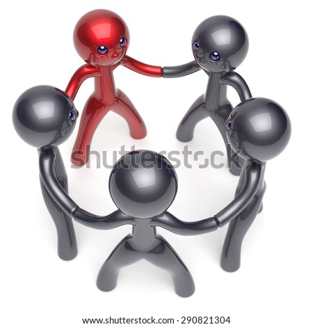 Leader boss teamwork circle people social network individuality motivation character human resources friendship team five cartoon friends unity meeting icon concept red black. 3d render isolated - stock photo