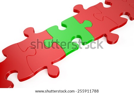 leader concept, red puzzle in the green puzzles - stock photo