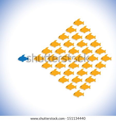 leader & followers or office manager & employees- graphic. The illustration can also represent concept of an entrepreneur or businessman starting a business,bold & confident office supervisor - stock photo