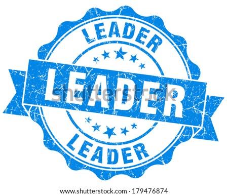 Leader grunge round blue seal - stock photo