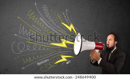 Leader guy shouting into megaphone with hand drawn lines and arrows on grungy background - stock photo