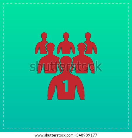 Leader Icon Illustration. Red pictogram with black stroke