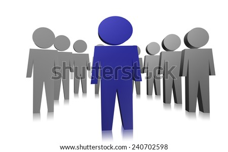 Leader lead the team in 3D - stock photo