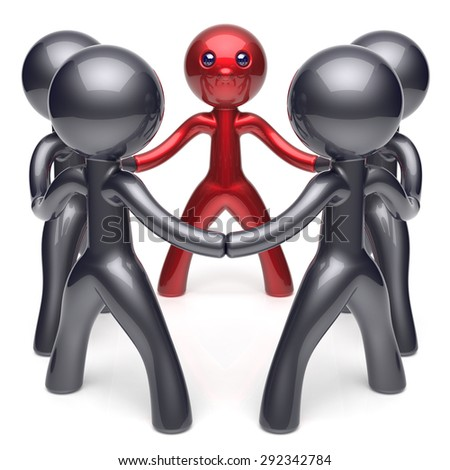 Leader leadership character teamwork circle stylized people social network human resources individuality friendship team five cartoon friends unity meeting icon concept red black. 3d render isolated - stock photo