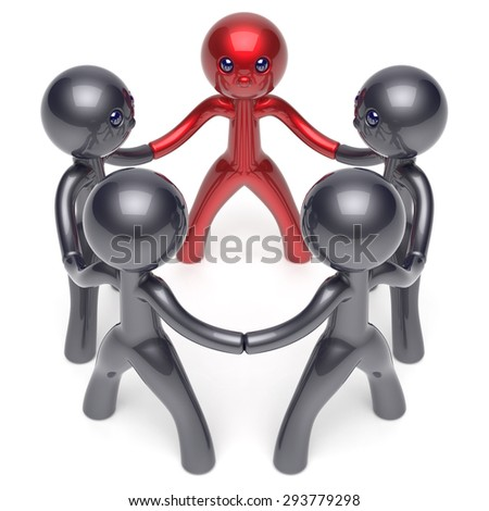 Leader leadership stylized man character teamwork circle people social network human resources individuality friendship team five cartoon friends unity meeting icon concept red black 3d render - stock photo