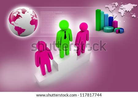 Leader man and business graph on abstract background - stock photo