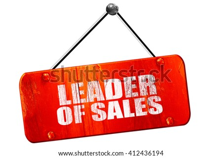 leader of sales, 3D rendering, vintage old red sign - stock photo