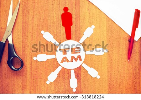 Leader of strong unified team. Abstract conceptual image - stock photo