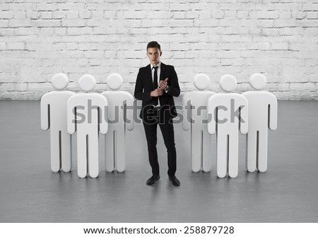 Leader of the team. A successful team led by a great leader - stock photo