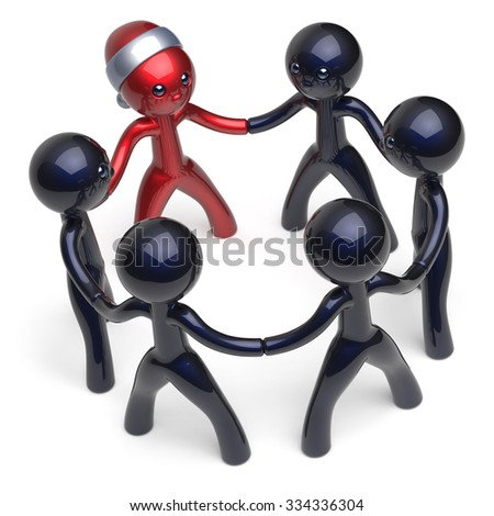 Leader Santa hat man character stylized Christmas leadership New Year's Eve teamwork circle people social network party team six cartoon guys unity meeting individuality concept black red. 3d render - stock photo