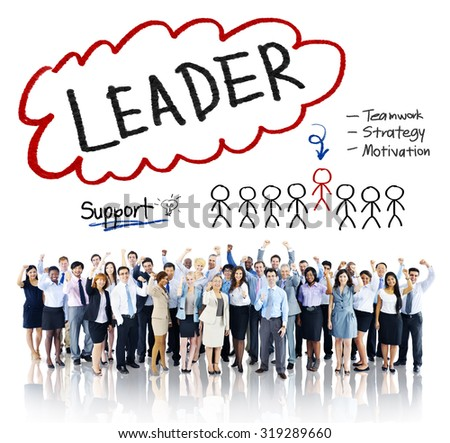 Leader Support Teamwork Strategy Motivation Concept - stock photo