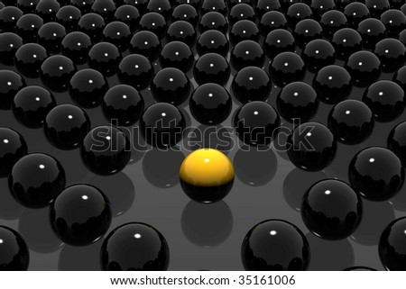 leader symbol, icy spheres, the power of one, frozen shiny spheres, 3d rendered spheres, lots of shiny spheres, crowd concept, a different yellow ball between others