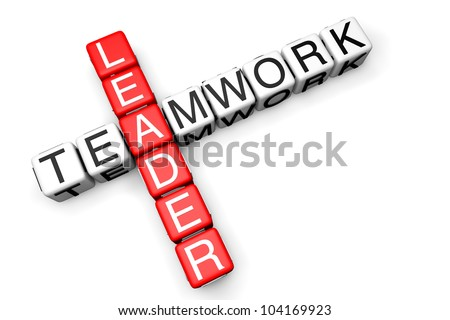 Leader Teamwork concept. Sign as crossword blocks on a white background