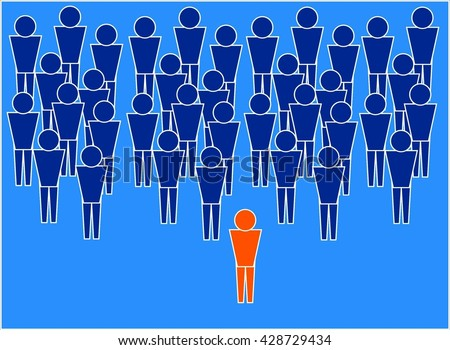Leader. The picture shows a leader who stands in front of his team and can lead it. These leaders are the leading forces of society.  - stock photo
