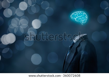 Leader think about business, creativity, business vision and headhunter concept. Businessman without head just with brain, bokeh in background.