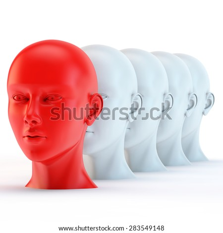 leader, unique red head among the white - stock photo