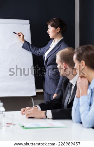 Leader writing on the board during business meeting