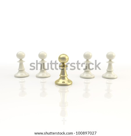 Leadership and business: light chess background of pawn row with outstanding golden figure