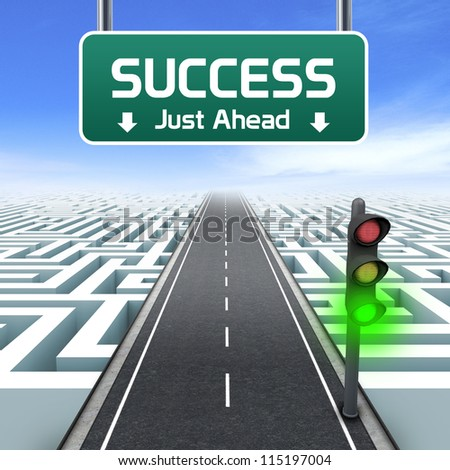 Leadership and business vision with strategy in corporate challenges. Road sign. Green traffic light. Labyrinth