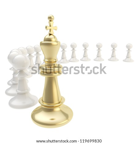 Leadership and chief chess golden king and pawn composition isolated on white background