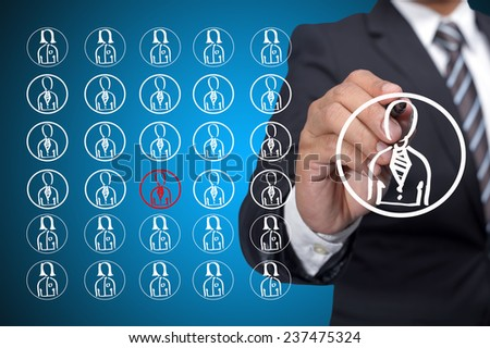 Leadership and task distribution management with isolated worker in red color - stock photo