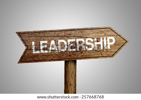 Leadership arrow wooden road sign is on gray background. - stock photo