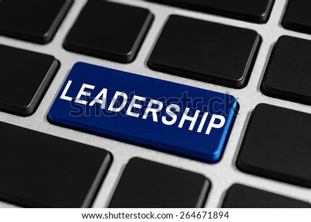 leadership blue button on keyboard, business concept - stock photo