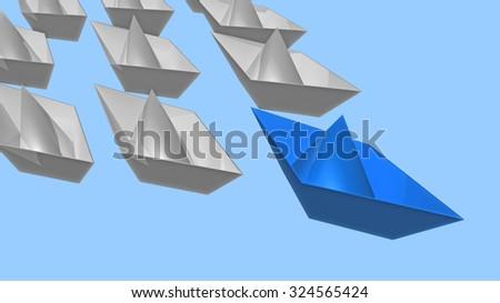 leadership, boats, blue the leader - stock photo