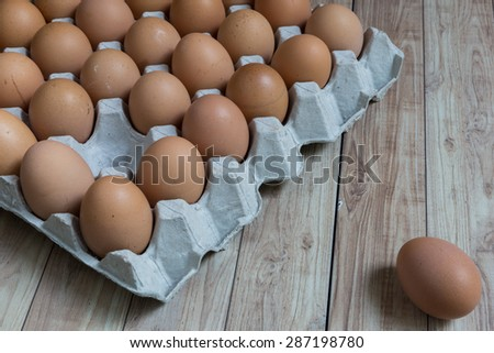 Leadership Concept : An egg is outstanding from the group of brown eggs. Picture illustrates leadership concept in business world. - stock photo