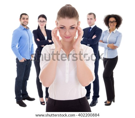 leadership concept - business woman and her colleagues isolated on white background - stock photo