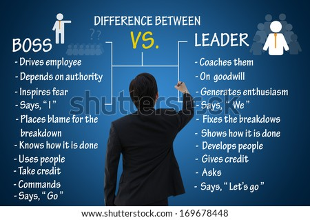 Leadership concept, difference between boss and leader - stock photo