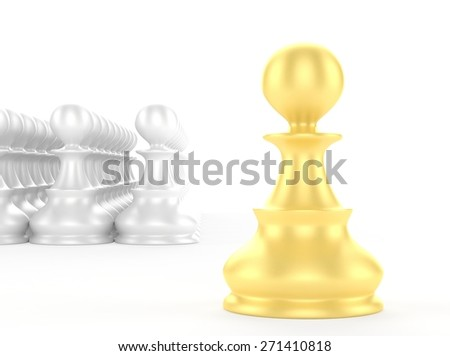 leadership concept gold pawn forward white pawns team group - stock photo