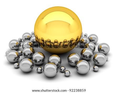 Leadership concept illustration - balls - stock photo