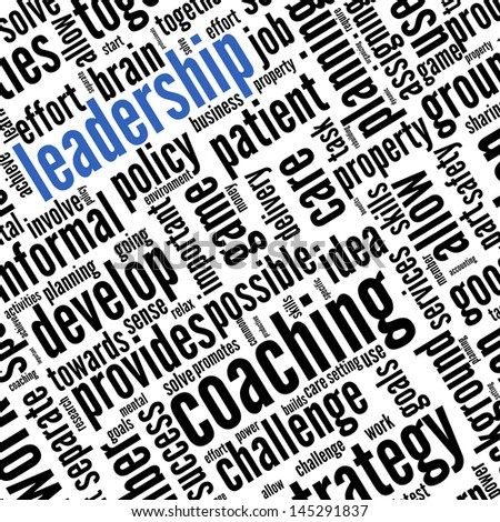 Leadership concept in word tag cloud on white
