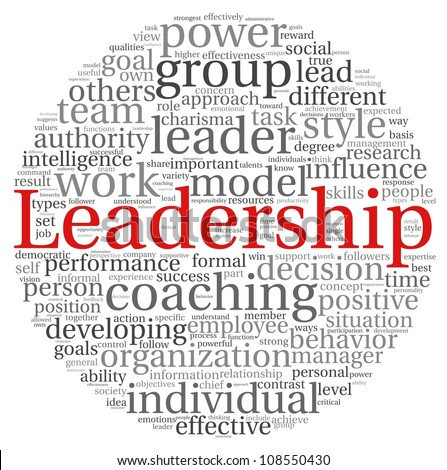 Leadership concept in word tag cloud on white background - stock photo