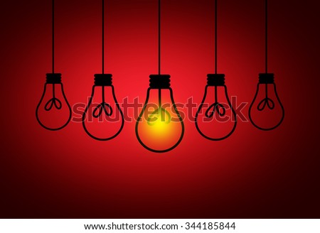 Leadership Concept - One light bulbs with glowing one isolated over dark red background - stock photo