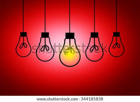 Leadership Concept - One light bulbs with glowing one isolated over red background - stock photo